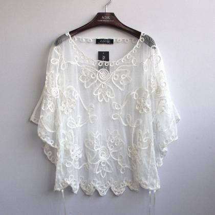 White See Though Lace Crochet Blouse Women's Top