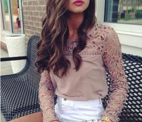 Free Shipping Lace Chiffon Long Sleeve Blouse Tops