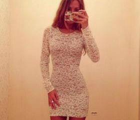 Fashion Round Neck Long Sleeve Slim Fit Lace Dress