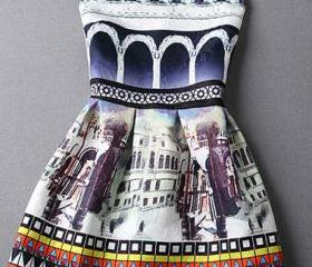 Cute Printed Sleeveless Skater Dress