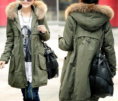 Winter Coats For Women In Green With Fur Hood on Luulla